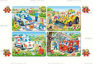 Пазл 4 в 1 «Веселый транспорт», B-04201