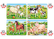 Пазл Castorland 4х1 «Животные и их дети», В-04416