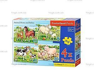 Пазл Castorland 4х1 «Животные и их дети», В-04416, фото