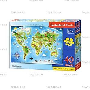 Пазл Castorland Maxi на 40 деталей «Карта мира», В-040117, фото