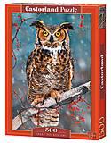 Пазл Castorland на 500 деталей «Большая рогатая сова», В-52387, купить