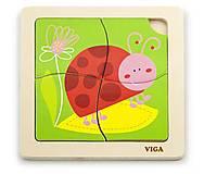 Пазл деревянный Viga Toys «Божья коровка», 50140, отзывы