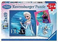 Пазл детский Ravensburger Disney «Эльза, Анна и Олаф», 09269R, купить