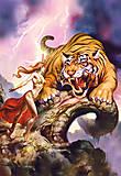 Пазл на 1000 деталей «Девушка и тигр, фэнтези», С-101207