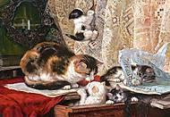 Пазл на 1000 деталей «Кошка с котятами», С-101603