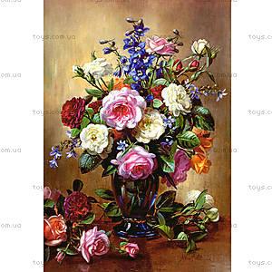 Пазл на 1000 деталей «Розы в голубой вазе», С-102617