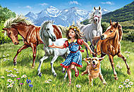 Пазл на 120 деталей MIDI «Девочка с лошадьми», B-13029