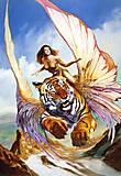 Пазл на 1500 деталей «Девушка и тигр, фентези», C-150489, купить