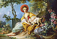 Пазл на 1500 деталей «Девушка с собачкой», C-151219