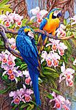 Пазл на 1500 деталей «Попугаи и орхидеи», C-150861, фото