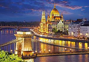 Пазл на 2000 деталей «Панорама Будапешта в сумерках», C-200405