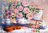 Пазл на 3000 деталей «Натюрморт Розы и Скрипка», C-300341, купить