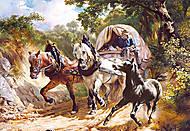 Пазл на 3000 деталей «Тройка Лошадей», C-300075, фото