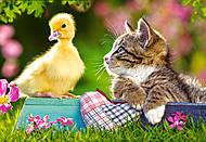 Пазл на 60 деталей «Утёнок и кот», B-06472, купить
