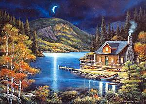 Пазл Castorland на 1000 деталей «Домик в лунном свете», 2990, купить