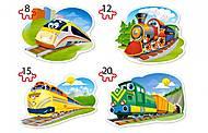 Пазлы Castorland 4х1 «Забавные паровозики», В-043033, фото