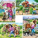 Пазлы Castorland 4х1 «Девочка и лошадь», 430, фото