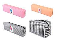 """Пенал-косметичка силиконовая """"Прозрачная сеточка Фламинго"""" 3 вида, упаковка PVC , 805-50, оптом"""