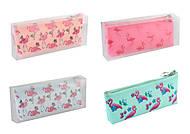 """Пенал-косметичка силиконовый """"Фламинго"""" 20*10см 4 вида, 805-12, купить"""