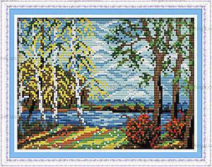 Пейзаж «Родная сторона», вышивка крестиком, F339