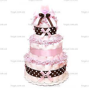 Торт из подгузников для девочки Pink chocolate, BH27