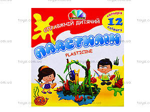 Детский пластилин Гамма, 12 цветов, 331011, цена