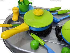 Плита с мойкой и посудой, в коробке, 04-411, магазин игрушек
