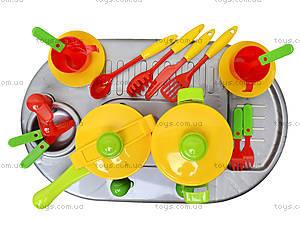 Игрушечная плита с мойкой и посудой, 04-409, фото