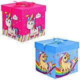 """Подарочная коробка складная """"Единороги"""" 2 вида (20.5*20.5*20), PB2351, игрушки"""