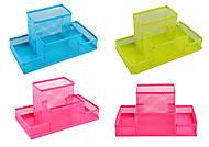 Подставка для канцтоваров металлическая, на 4 отделения, 4 цвета, 9126, игрушки