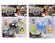 Покемоны и покебол Pokemon GO, 4 фигурки, BT-PG-0005