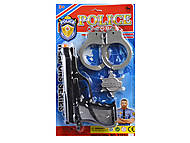 Пистолет, значок и наручники в наборе, 2323-5, опт