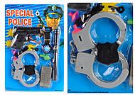 Полицейский набор (пистолет, рация, наручники, часы, свисток) , 446D, фото