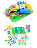 Игрушечная посуда с подносом, 36 предметов, 04-423, фото