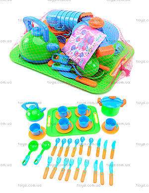 Набор игрушечной посуды с подносом «Сервиз», 04-424