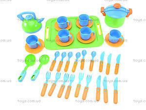 Набор игрушечной посуды с подносом «Сервиз», 04-424, фото