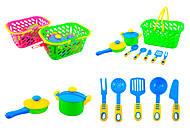 Детский набор посуды в корзинке, 04-435, фото
