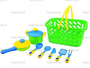 Детский набор посуды в корзинке, 04-435, отзывы