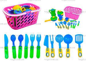 Игрушечный набор посуды в корзинке , 04-436