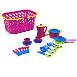 Посуда в корзинке, розовая (кастрюля, сковорода, кофейник), KW-04-436, купить