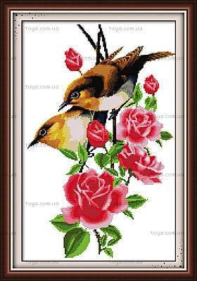 Птички на ветке, картина крестиком, H098