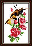 Птички на ветке, картина крестиком, H098, фото