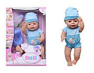 Пупс функциональный с аксессуарами Baby Doll, YL1710A, купить