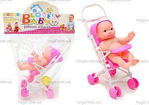 Розовый пупсик девочка в коляске, YD416-1