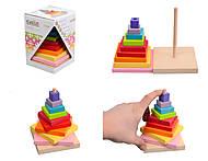 Игрушка пирамидка деревянная, 12329, отзывы