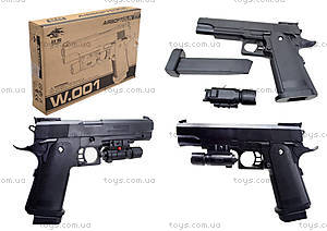 Пистолет стреляющий пульками, с лазерным прицелом, 001