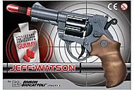 Пистолет EDISON Jeff Watson 19см 6-зарядный с пульками, ED-0459210, детские игрушки