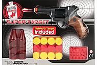 Пистолет EDISON Supertarget 19см 6-зарядный с мишенями и пульками, ED-0480210, цена