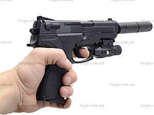 Пистолет утяжеленный с глушителем и светом, M4013D, отзывы