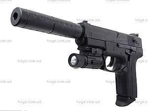 Пистолет утяжеленный с глушителем и светом, M4013D, цена